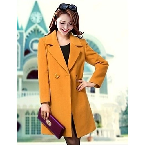 Women's Plus Size Coat,Solid Asymmetrical Long Sleeve Winter Blue / Black / Yellow Others Medium