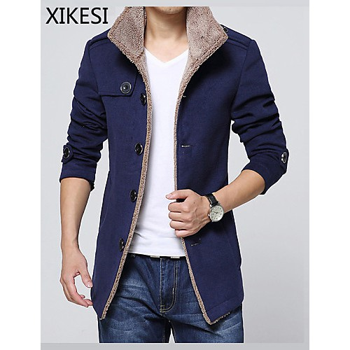 Men's Casual/Work/Plus Sizes Pure Long Sleeve Regular Coat (Wool/Fleece)XKS7B06