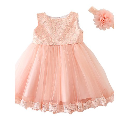 Baby Girl's Pink Dress, Bow Polyester All Seasons