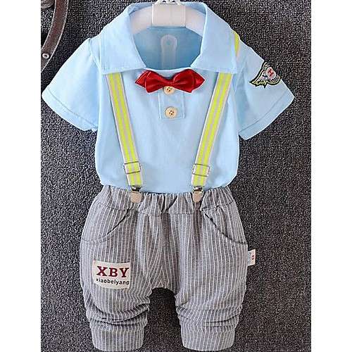 Baby Casual/Daily Solid Clothing Set-Cotton-Summer-Blue / Green / Yellow / Beige