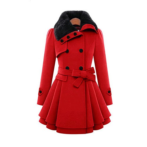 Women's Vintage Coat,Solid Shirt Collar Long Sleeve Winter Red / Beige Wool / Cotton / Others Thick