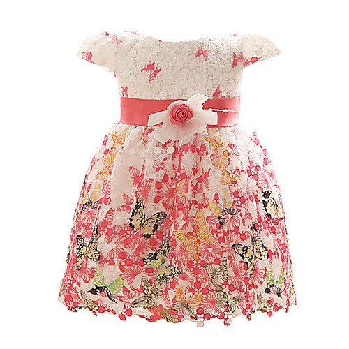Baby Girl's Red/Blue/Fuchsia Dress, Floral Polyester All Seasons