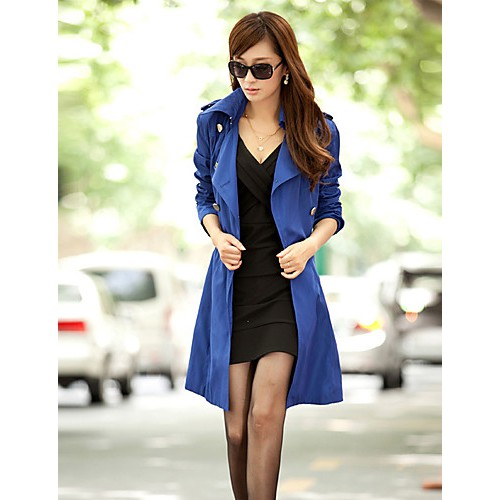 Women's Solid Blue / Red / Black / Orange / Beige Trench Coat , Plus Sizes Long Sleeve Cotton / Polyester / Nylon COAT2