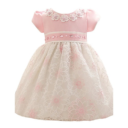 Baby Girl's Blue / Pink Dress, Floral Polyester All Seasons