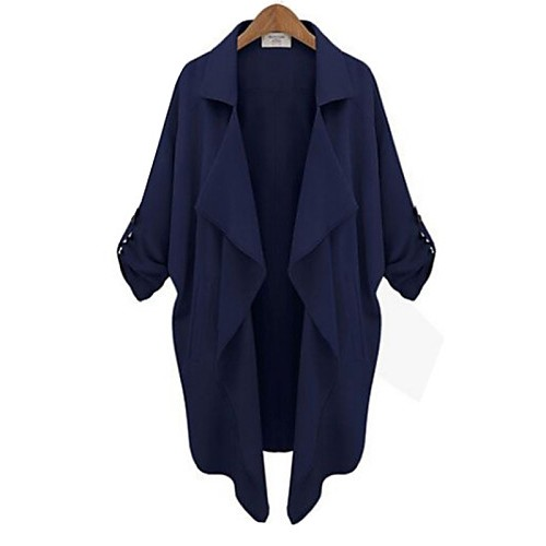 Women's Plus Size Trench Coat,Solid Asymmetrical Long Sleeve Fall Blue / White / Yellow Cotton Medium