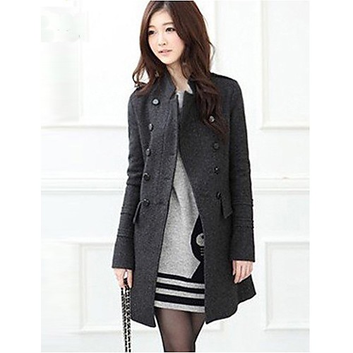 Women cultivate one's morality double-breasted woolen cloth long-sleeved jacket Leisure fashion winter warm coat HOUTW20