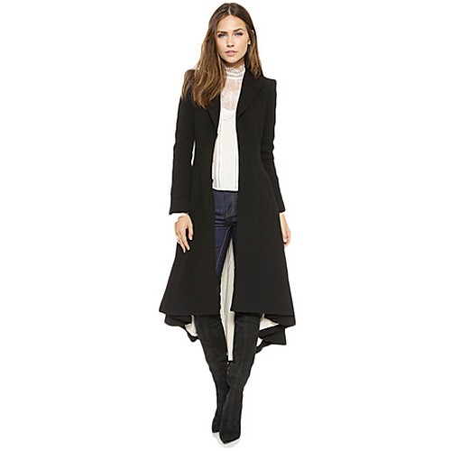 Women's Work Simple Coat,Solid V Neck Long Sleeve Winter Black Acrylic / Polyester Thick
