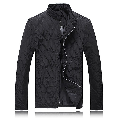 Men's Regular Coat,Cotton / Polyester Solid Long Sleeve