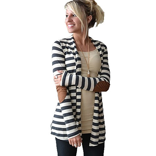 Women's Striped White Wrap , Asymmetrical Long Sleeve