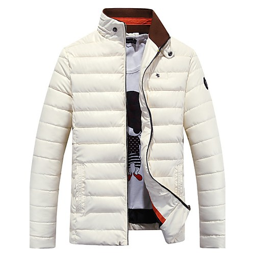 Men's Regular Padded Coat,PU Solid Long Sleeve