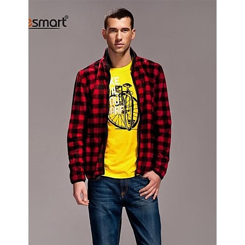 Lesmart® Men's Casual Long-sleeved Plaid Collar Zipper Jacket