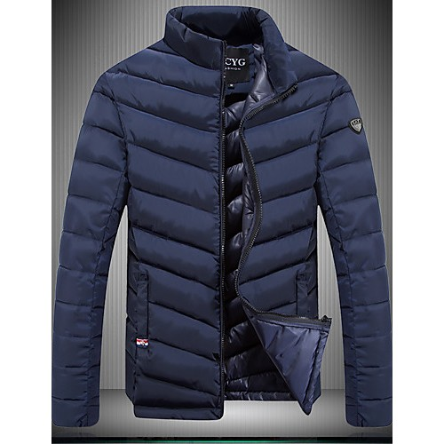 Men's Regular Padded Coat,Spandex Solid Long Sleeve