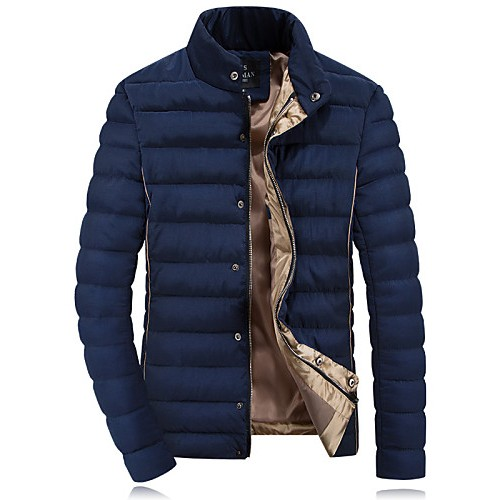 Men's Regular Parka Coat , Others Pure Long Sleeve