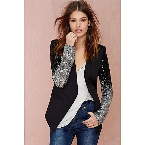 Women's Casual/Daily Spring Blazer,Solid Cowl Long Sleeve Black Polyester Medium
