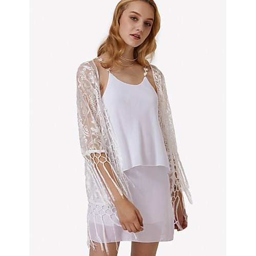 Women's Beach Street chic Summer Shirt,Solid Cowl Long Sleeve White Polyester Translucent