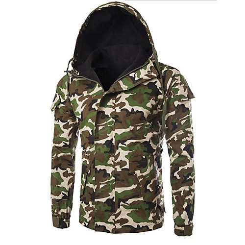 Men's Regular Padded Coat , Cotton Pure Long Sleeve