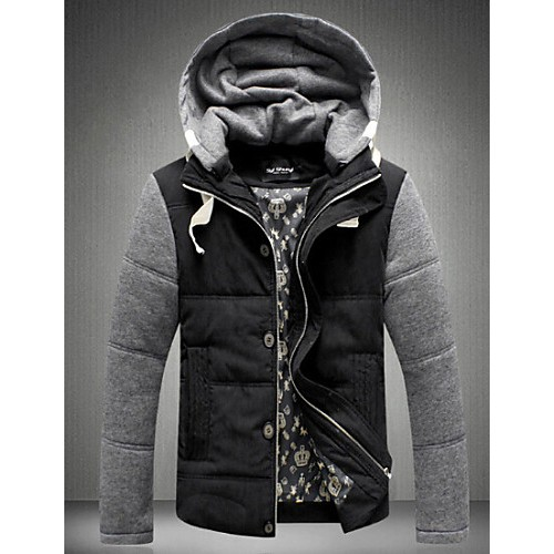 Men's Regular Parka Coat , Cotton Print Long Sleeve